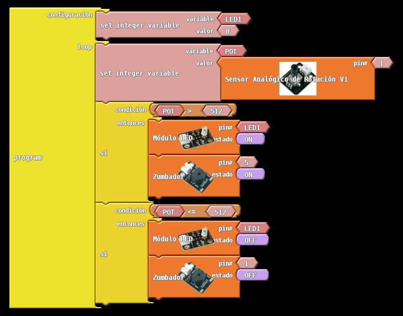 ArduBlock lectura analógica y un zumbador a la vez