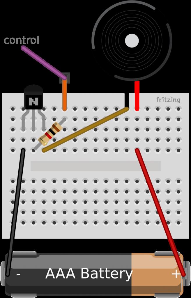 El zumbador se suele montar con un transistor