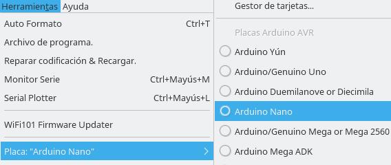 Herramientas ==> Placa ==> Arduino Nano