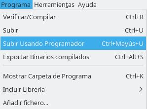 Programa ==> Subir Usando Programador